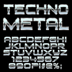 Techno metal style letters and symbols . Font for design. Vector eps10.