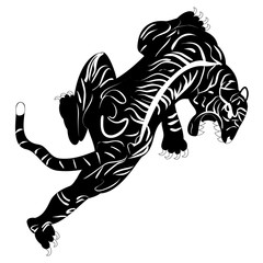 Vector image of tiger tattoo