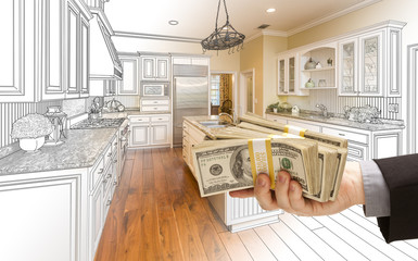Hand Handing Cash Over Kitchen Design Drawing and Photo Combination