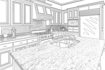 Black Custom Kitchen Design Drawing on White
