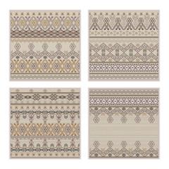Vector set of seamless patterns. Ethnic tribal geometric texture