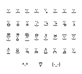 Large set of typography smiley icons