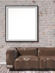 Mock up white empty picture frame with brown leather sofa. 3D render illustration