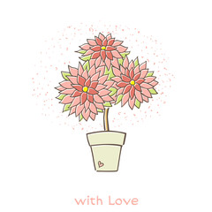 """Flower in a pot, the words """"with love"""". Can be used as a greeting card for Valentine's Day. Vector illustration."""