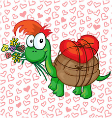 Vector illustration of a in love cartoon turtle