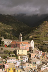 A small town between the mountains. Vernazza. The Cinque Terre.