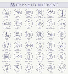 Fitness and health vector outline icon set. Modern thin line style design.