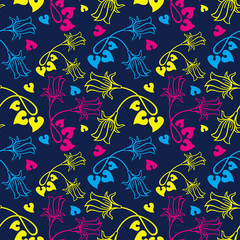 Seamless pattern with bellflowers