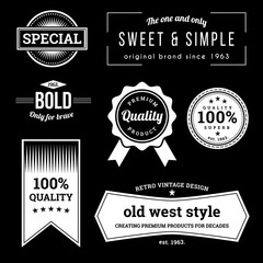 Collection of retro labels with retro vintage styled design. Vector illustration.