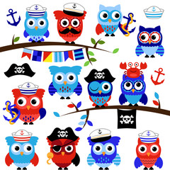 Nautical, Sailor and Pirate Themed Vector Owls