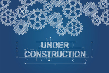 Under construction blueprint concept, sketched drawing with gear wheels. Technical drawing, scribble style. Vector illustration.