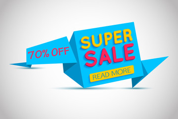 Super Sale blue paper banner. Super Sale and special offer. Up to 70% off. Web banner. Banner vector. Web banner designs. Web banner template. Banner design. Banner template. Banner background.