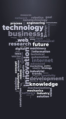 TECHNOLOGY and INNOVATION word cloud. Dark blue tag cloud. Vector graphics illustration.