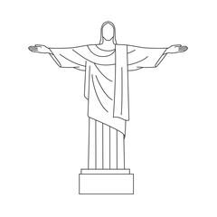 Vector Line Icon of Christ the Redeemer, Rio De  Janeiro, Brazil