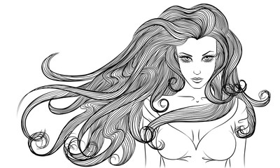young long hair woman outline monochrome drawing
