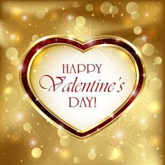 Valentines Heart on golden background