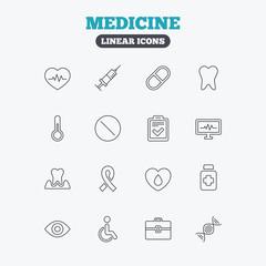 Medicine icons. Syringe, heartbeat and pills.