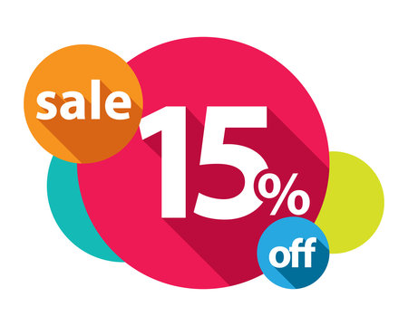 15% discount logo colorful circles