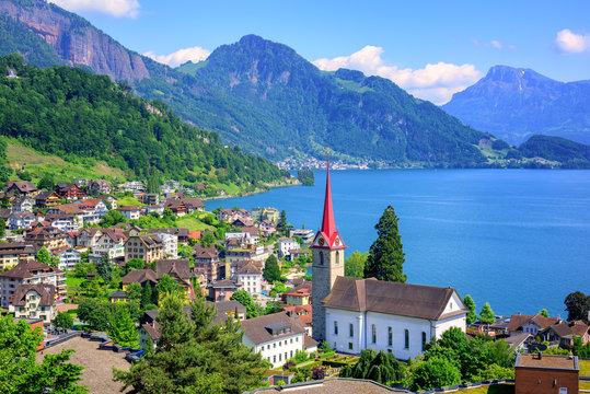 Lake Lucerne and Alps mountains by Weggis, Switzerland