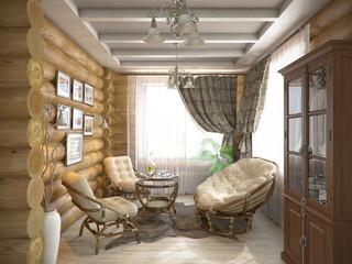 3D render interior design of a verandah in the house from a log