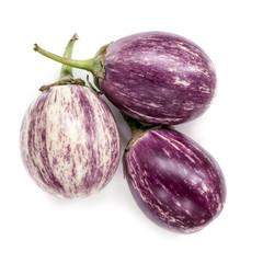 Three Baby Graffiti Eggplants Isolated on White