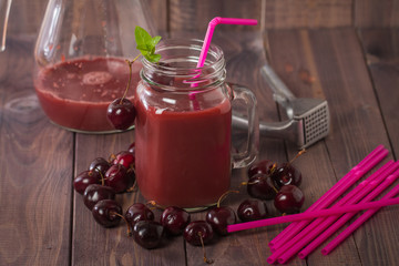 homemade cherries drink with fresh cherry