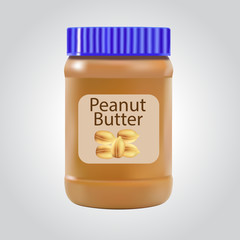 Peanut butter. Detailed Vector Icon isolated on white background. Series of food and drink and ingredients for cooking.....