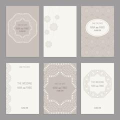 Vector Set of of vintage cards  templates editable. Wedding invi