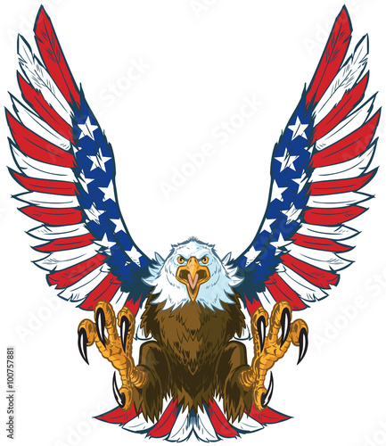 Screaming Eagle With American Flag Wings Vector Clip Art Stockfotos