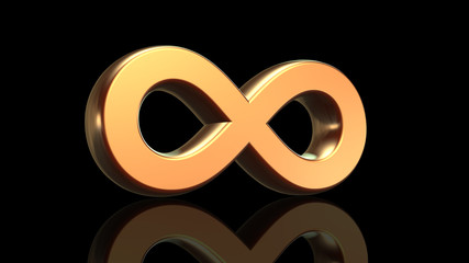 Infinity sign, math symbol in gold isolated on black background