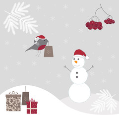 Winter background with a snowman.
