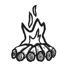 doodle camp fire doodle,  illustration icon