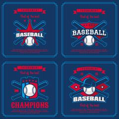Set baseball badge, logo, emblem tournament in vintage retro style template.