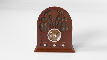 Old Vintage Radio, antique object isolated on white background, front view