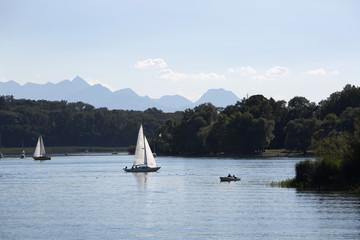Sailing boats at lake Chiemsee, Bavaria, Germany