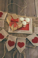 Handcraft gift boxon a wooden table
