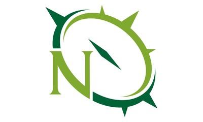 Letter N Compass Emblem