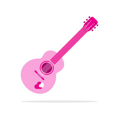pink heart guitar icon flat style