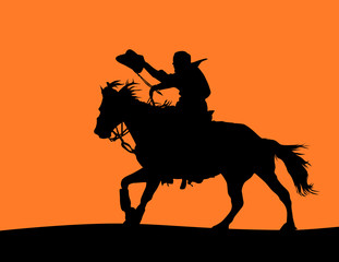 Detailed Horse and Cowboy Silhouette (vector)