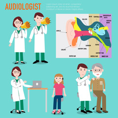 Audiologist , audiology , anatomy of ear vector infographic illu