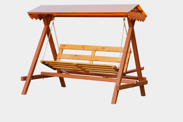 Wooden handmade bench swing isolated