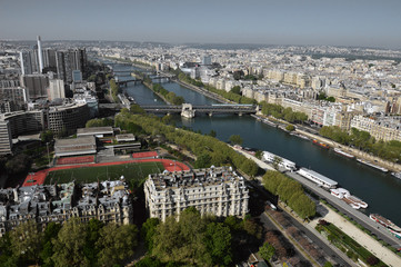 Aerial view of Paris and Seine river from Eiffel tower