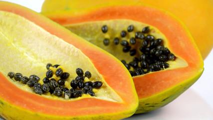 Papaya on white background.