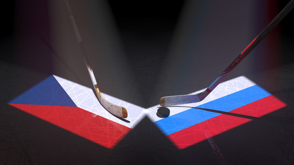 Hockey puck, hockey sticks and the image of the Czech and Russian flag on the ice.