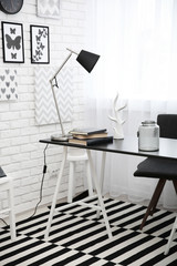 Modern room interior in black and white tones