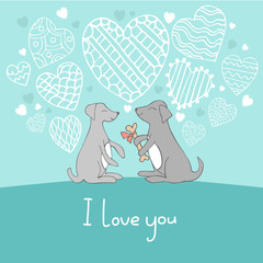 Dogs in love cute doodle vector illustration. Love, romantic, Valentines Day