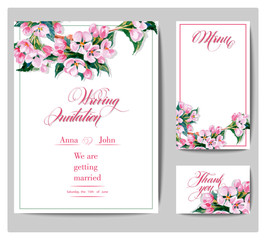 Wedding invitation cards with a watercolor blossoming Apple tree branch. (Use for Boarding Pass, invitations, thank you card, menu.) Vector illustration.