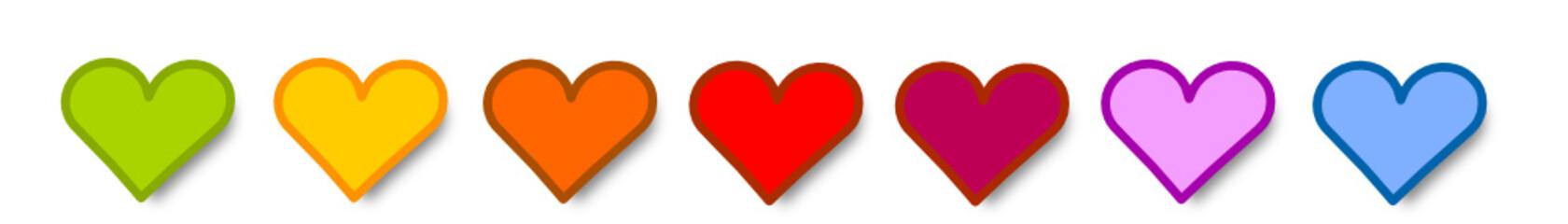 Herz Hintergrund Reihe Herzen Bunt Vektor