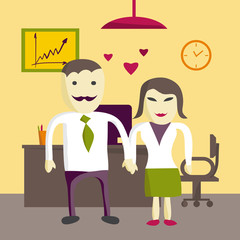Love in office. Two office manager man and woman in love. Flat v