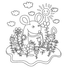 Funny mouse with flowers. Coloring book.